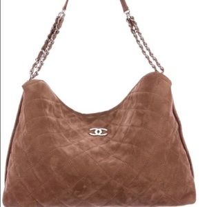 Authentic CHANEL Brown Quilted French Riviera Hobo